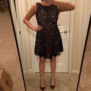 Black and Tan lace overlay dress